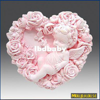 Wholesale Soap Molds Heart Shape - supernova sale new 2014 3D Handmade soap silicone mold, baby molds heart shaped rose angel candle mould,moulds, wholesale Free Shipping