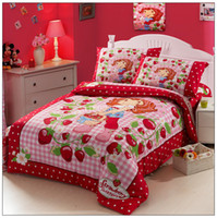Wholesale Strawberry Shortcake Bedding Sets - Strawberry Shortcake,100 cotton Printing 3pcs bedding,baby kid children duvet cover Set,bed linen,bedclothes+Free Shipping