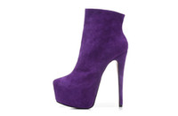 Wholesale ankle boots booties - New 2018 women's dress ankle boots,brand designer point toe purple genuine leather platform pumps,red bottom high heel booties
