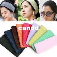 Wholesale Sports Cloth Headbands Wholesale - Free shipping 2013 new sweat band terry cloth headbands hair accessories for women Candy color sports yoga hair head protection