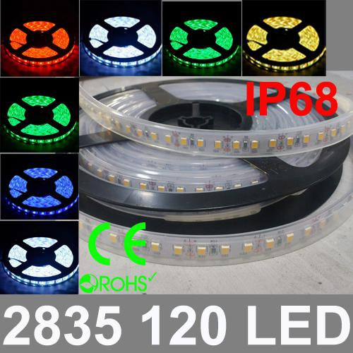 IP68 Waterproof DC12V/24V input High brightness 20~25lm/SMD 2835 SMD Epistar Chip 24W 120 LED/Meter LED Strip Light, 5 Meter/Bag
