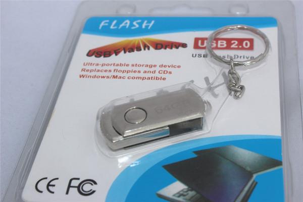 256GB 128GB 64GB USB 2.0 Swivel Metal King Chain Ring USB Flash Drive U Disk Windows iOS OEM LOG Silk Printing DHL Free 12 Months Warranty