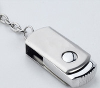 Wholesale Oem Pen Drive - DHL 256GB 128GB 64GB USB 2.0 Swivel Flash Drive Pen Memory Stick Chrome Metal With Keyring Key Ring OEM LOGO 12 months Warranty