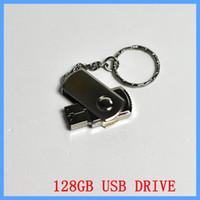 ingrosso pacchetti ems-256 GB 128 GB 64 GB USB 2.0 girevole Flash Drive Pen Memory Stick metallo cromato con portachiavi OEM Imballaggio al dettaglio DHL EMS 1 giorno spedizione veloce UPS