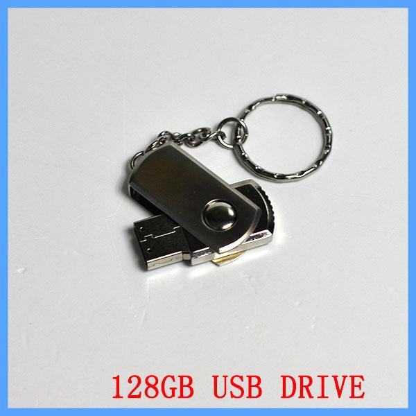 256 Go 128 Go 64 Go USB 2.0 Pivot Flash Drive Clé Mémoire En Métal Chrome Avec Porte-clés OEM Emballage de Détail DHL EMS Expédition 1 Jour Rapide UPS
