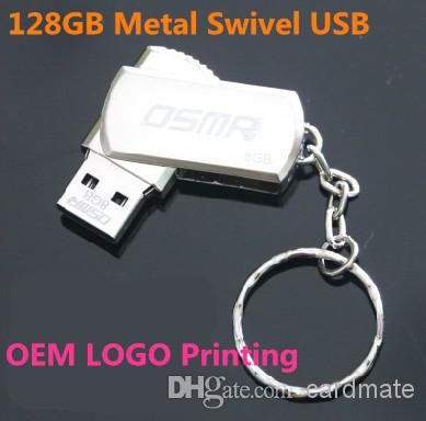 256GB 128GB 64GB USB 2.0 Swivel Metal Swivel Key Ring 256GB 128GB 64GB USB 2.0 Swivel Flash Drive Pen Memory Stick Chrome Metal With Keyring
