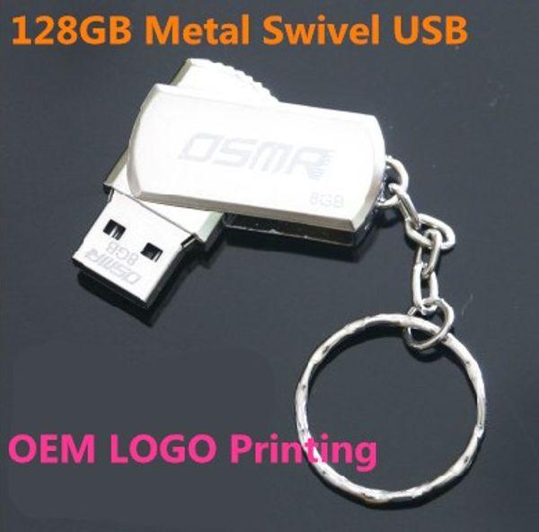256 GB 128 GB 64 GB USB 2.0 Swivel-Metallschwenker-Schlüsselanhänger