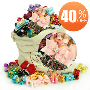 Wholesale - Special Sales!! Handmade Fashion Dog Grooming Bows Hair Accessories Pet Show Products For Puppy SPA Gifts 40%OFF!! Free Shipping