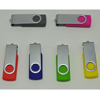 Wholesale Usb Flash Drive Yellow - 256GB 128GB 64GB USB 2.0 Swivel Flash Drive Pen Memory Stick Chrome MetaPlastic Swivel Thumb Silver Black Red Blue Yellow White Memory Stick