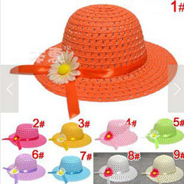 straw hat crochet girl 2019 - 2014 Hot Sale Girls Sunbonnet Baby Flower Summer Straw Hat Kids Sun Cap Wide Brim Floppy Hat 20pcs Free Shipping cheap s