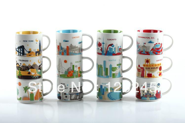 Starbucks Yah City Series Bone China Coffee Mug 4 Mugs
