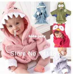 Wholesale Child Bath Robe Terry Wholesale - boy girl Animal Baby bathrobe baby hooded bath towel kids bath terry children infant bathing baby robe HoneyBaby