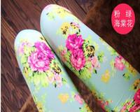 çiçek kızları sıkı toptan satış-Sıcak Bahar Yeni Varış 5 Renkler Bebek Kız Tayt Çocuklar Çiçekler Baskılı Çocuk Begonya Çiçek Tayt Kız Legging Pantolon B2844