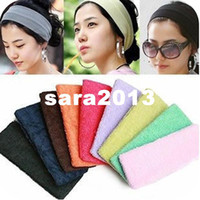 Wholesale Terry Cloth Sports Headbands - Free shipping 2016 new sweat band terry cloth headbands hair accessories for women Candy color sports yoga hair head protection