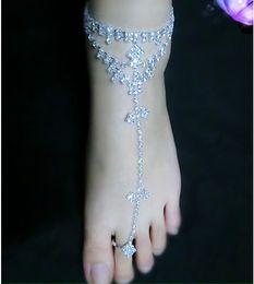 Wholesale Foot Thongs - 1PC Rhinestone Bridal Barefoot Sandal Beach Anklet Foot Chain Thong Toe ring