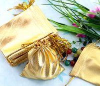 золотые подарочные сумки из органзы оптовых-Имеющаяся перевозка груза падения Новое прибытие 100Pcs 9x11.5cm ювелирных изделий сумки Golden кулиской органзы, мешок рождества подарка венчания мешка ювелирных изделий горячего сбывания 2019