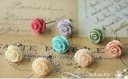 Wholesale Earrings Pc Mix - Fashion Mixed Colorful Resin Rose Studs Earrings with display Vivid Colors Jew 300 pcs lot 150 pairs free shipping