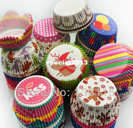 Wholesale Cupcake Cases Christmas - 200PCS Christmas Kids New patterns design paper cupcake liners baking cup muffin cases cake!2 Broke Girls Cake cup