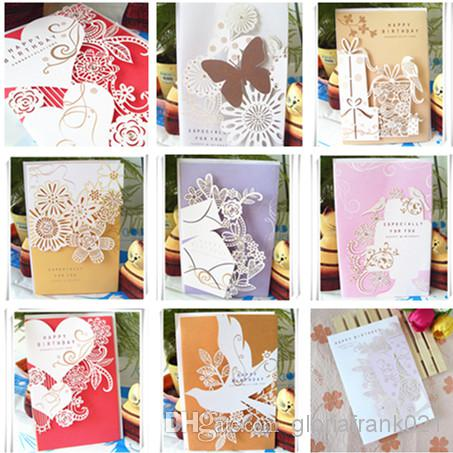 Laser Engraving 8 Patterns Mixed Birthday Card Big Size 3 Folds Hollow Out Greeting High Quality Gift Online With
