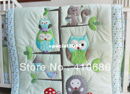 Wholesale Embroidered Baby Sheets - New 7pcs Birdie Owlet Three Animals Embroidered Baby Cot Crib Bedding Set 4 items Quilt Bumper Sheet Skirt cyan color