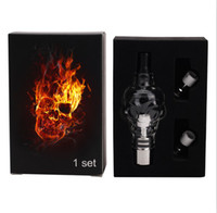 hierba seca vaporizador cráneo al por mayor-Skull Glass globes Atomizer kit con 2 bobina Core cartomizer tanque Pyre cera hierba seca vaporizador clearomizer para e cig cigarrillo electrónico