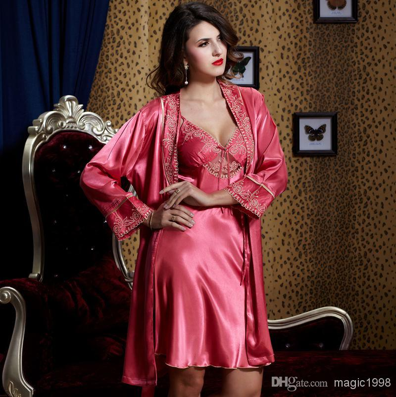 0ae5dbdc3f 2019 Real Nightwear Top Quality Stain Women Nightgown Robe V Neck Three  Quarter Sleeve Sets Sexy Sleepwear Plus Big Size 9222 From Magic1998