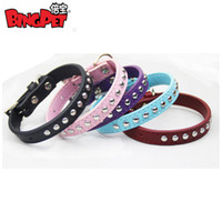 Wholesale Stud Dog Collars - Free Shipping! MOQ 12pcs colors mixed ,leather stud dog collar, ALLOY BUCKLE, single and double row studs