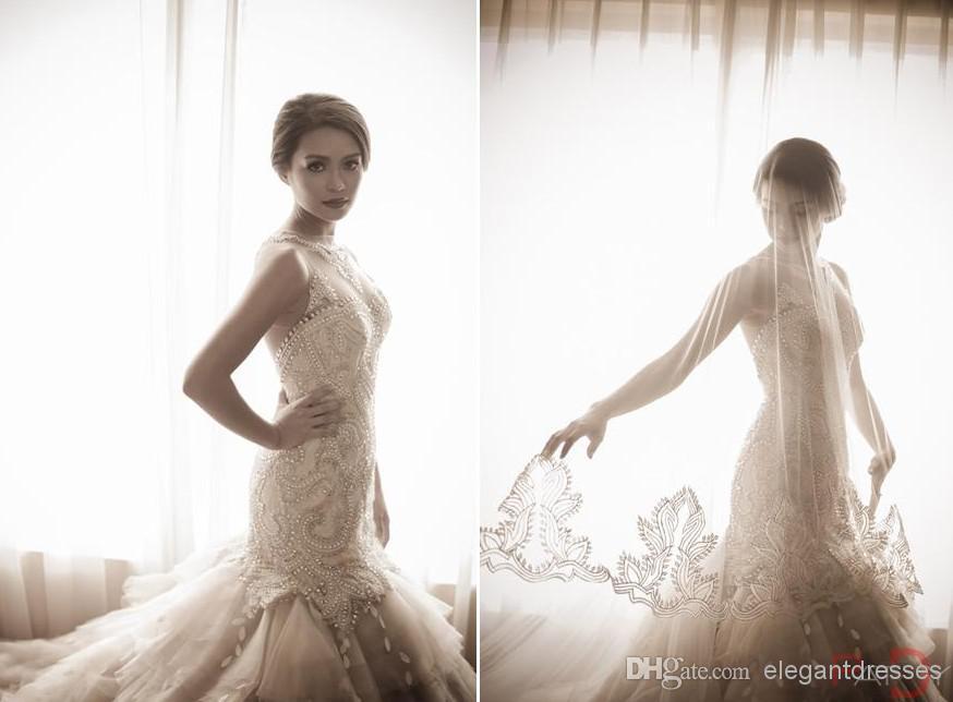 Custom Made 2019 Bahar Çarpıcı Mermaid Yüksek Boyun Illusion Vintage Kristal Gelinlik Düğün için Beyaz Fildişi Gelin Kıyafeti