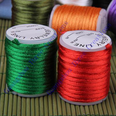 Drop Shipping En Gros Bijoux DIY 10 pcs 3mm Multicolore / MixColor Rond Satin Perlage Cordon, Bijoux Cord Collier Collier Idéal pour Pendentifs