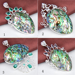Wholesale Wholesale Abalone Pendants - 2015 Promotion Rushed Pendant Necklaces Gemstone Jewelry Pendant Colares 2 Pcs 925 Sterling Silver Natural Shell Gemstone Wholesale Jewelry
