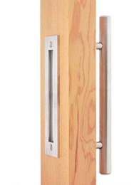 """Wholesale Wood Barn - DIYHD 12"""" Stainless Steel Brushed Satin Sliding Barn Door Wood Door Two Sides Handle And Pulls"""