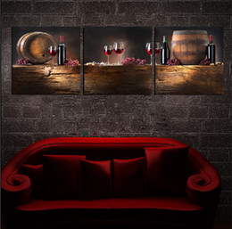 Wholesale Wine Barrels Free Shipping - 3 Pieces Free Shipping Hot Sell Modern Wall Painting Home Decorative Art Picture Paint on Canvas Prints Barrels, goblet, and delicious wine