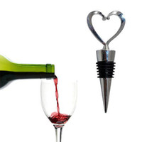 Wholesale Twist Wine Opener - S5Q Aluminum Elegant Craft Heart Style Red Wine Bottle Stopper Twist Caps Gifts AAAAIS