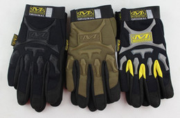 Wholesale Sports Safety Gloves - Free Shipping Mechanix Wear Full finger gloves Mechanic Gles Work Gloves Safety Gloves Wear M-Pact Outdoor Sport Gloves Airsoft 3 color