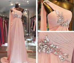 Wholesale Empire One Shoulder Dresses - One Shoulder Beaded Peach Chiffon Watteau Train Prom Dresses 2016 Sweep Train Rhinestone Pleated Formal Evening Party Gowns