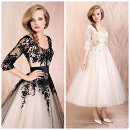 Wholesale Tull Wedding Dresses Sleeves - 2015 New Arrival Appliqued Sheer Beach Wedding Dresses Scoop Neck Half Sleeve A-Line Tea-Length Tull Skirt Bridal Gowns Wedding Gown LC-008