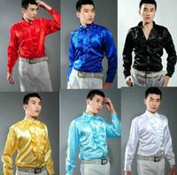 смокинг для мужчин красный черный цвет оптовых-Бесплатная доставка 6 Выбор цвета красный/желтый/белый/синий/черный мужские смокинг рубашки этап производительности рубашки