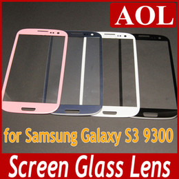 Wholesale S3 Glass Pebble Blue - Front Glass Lens Glass Digitizer Cover no touch for Samsung Galaxy S3 i9300 Outer Screen Cover Replacement White Black Pebble blue Gray Pink
