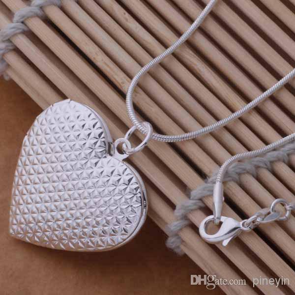 mixa 12 stilar 925 Silverpläterad Hjärta och Cross Pendant Halsband Mode Smycken Valentines Presentfoto Locket NE51