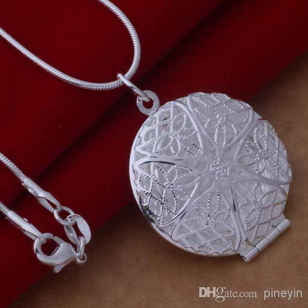925 silver plated heart pendant necklace fashion jewelry Valentines gift photo Locket NE40