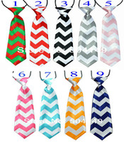 Wholesale Chevron Ties Boys Wholesale - New baby chevron zigzag necktie baby kids children ties neck tie ties Boys Girls tie with curve style 30pcs lot 9color choose,0-6T, Melee