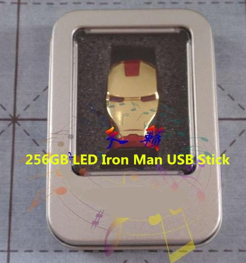 256GB 128GB 64GB USB 2.0 LED Iron Man Flash Drive Pen Memory Stick Chrome Metal Gold Red Silver Retail Packaging DHL EMS 1 Day Shipping