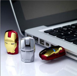 Wholesale Iron Man LED GB GB GB Metal White Metal Case LED Iron Man USB Flash Memory Drive Stick Pen Thumb Gold Red Silver GB G USB
