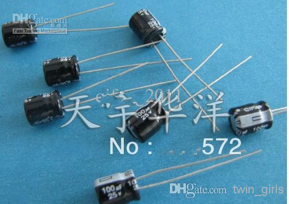 الجملة - 25 فولت 100 فائق التوهج 6x7 DIP المكثفات كهربائيا