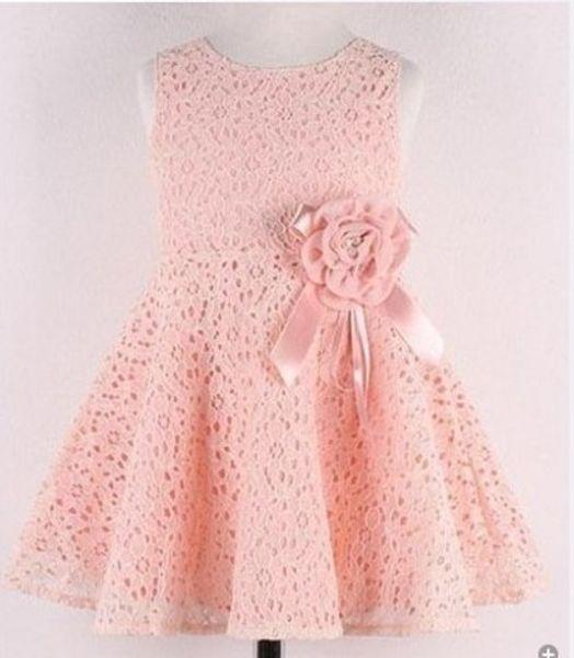 Commercio all'ingrosso - - Vendita calda 2014 nuovi vestiti dei bambini di estate, neonate vestito dalla principessa coreana, bambini pizzo / bow party costumi del fiore, vestito 2-7Y chil