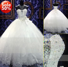 Wholesale Strapless Crystal Flower Wedding Dress - 2014 New Arrival 2014 Zuhair Murad Wedding Dresses Bridal Gown With White Strapless Ball Gown Luxury Crystals Lace Up Sweep Train Dress