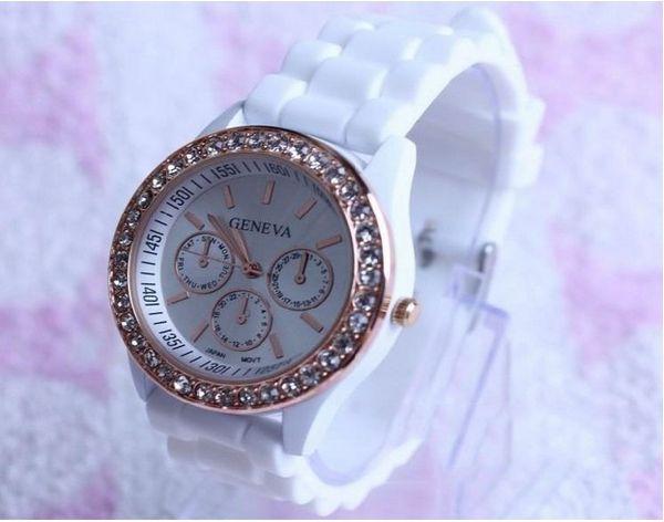 Free Shipping Fashion A Lot of Colors Watch Luxury Fashion Goods Lady Brand GENEVA Rose Gold Diamond Quartz Silicone Jelly Watch 10piece/lot