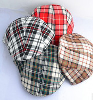 Wholesale Crochet Baby Beret Hat - Classical Grid Baby Boys Girls Spring Berets Baby Plain Hats Vintage Checker England Style Caps Baby bBeanie Hats B2859