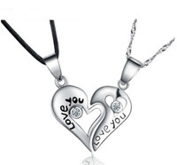 Brand New Love Heart Pendant Pura 925 Sterling Silver Love Forever Necklace for Couple Frete grátis