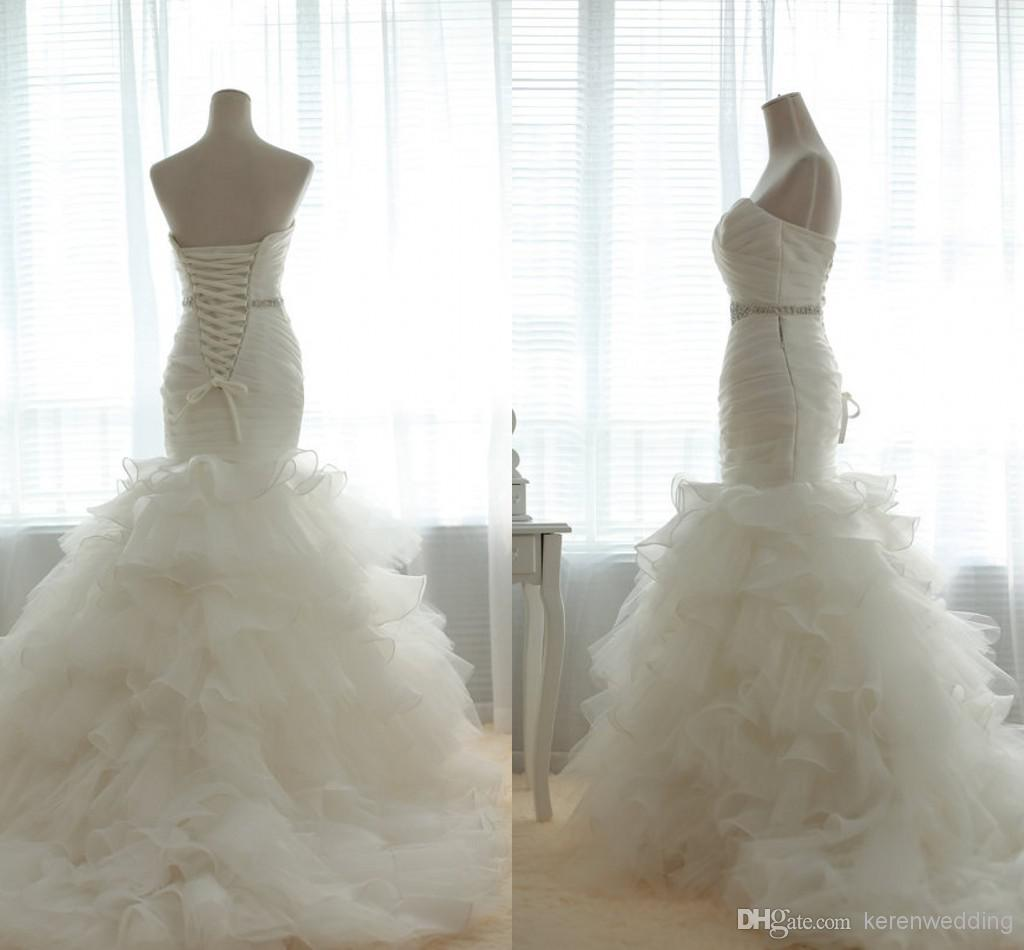 Lq Sweetheart Neckline Actual Image Ruffled Bottom Wedding Gowns